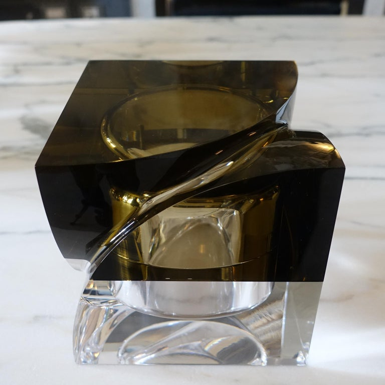 Flair Edition Big Decorative Box in Amber and Clear Lucite, Italy, 2021 In New Condition For Sale In Firenze, IT