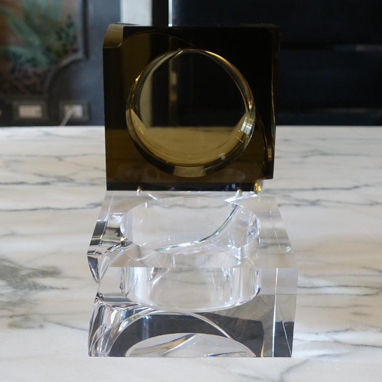 Flair Edition Big Decorative Box in Amber and Clear Lucite, Italy, 2021 For Sale 1