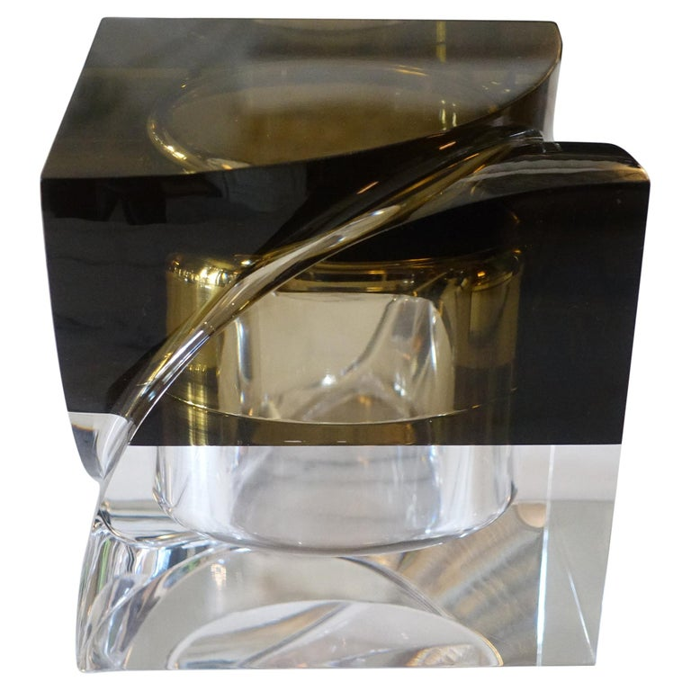 Flair Edition Big Decorative Box in Amber and Clear Lucite, Italy, 2021 For Sale