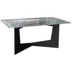 Flair Edition Contemporary Desk, Steel Base and Art Glass Top, Italy, 2019