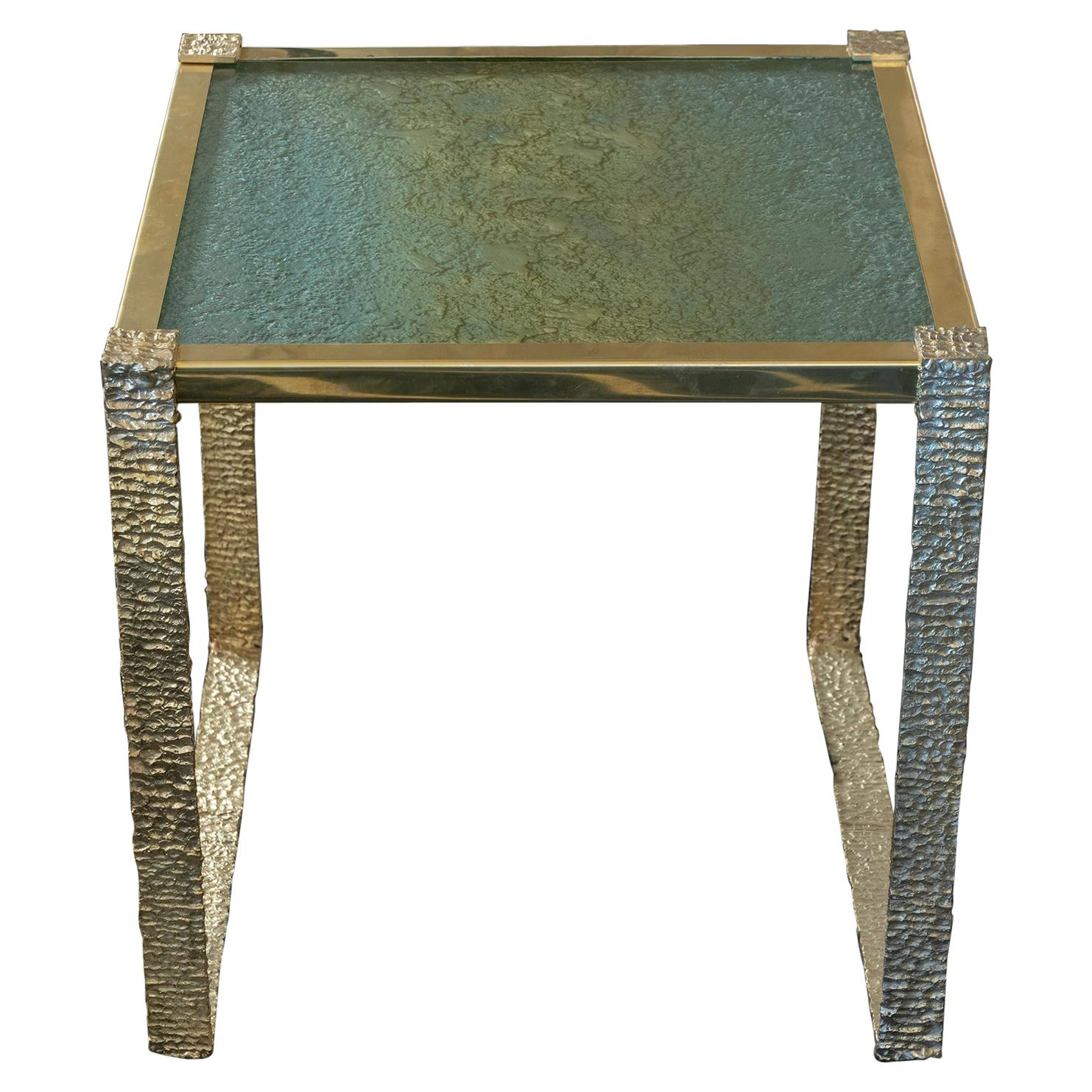 Flair Edition Contemporary Side Table, Brass Base and Art Glass Top, Italy, 2021