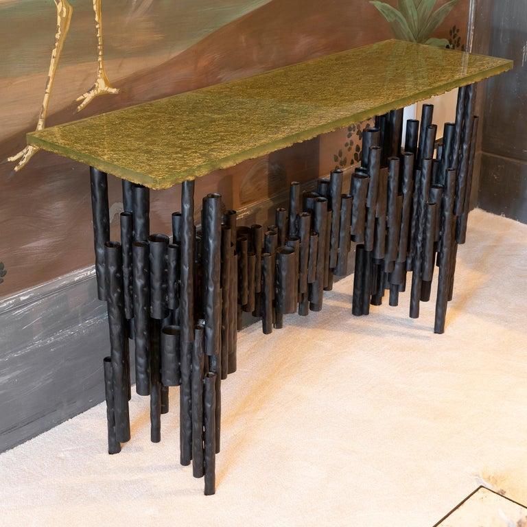 Italian Flair Edition Contemporary Steel Tubes and Art Glass Top Console, Italy, 2019 For Sale