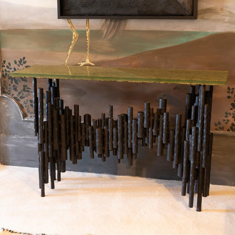 2010s Flair Edition Contemporary Steel Tubes and Art Glass Top Console, Italy, 2019 For Sale