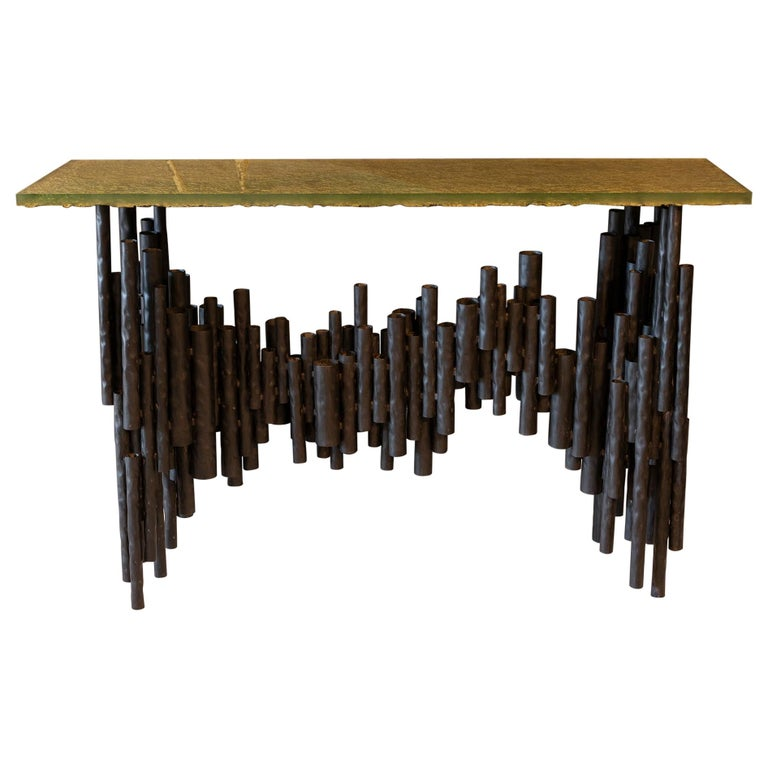 Flair Edition Contemporary Steel Tubes and Art Glass Top Console, Italy, 2019 For Sale
