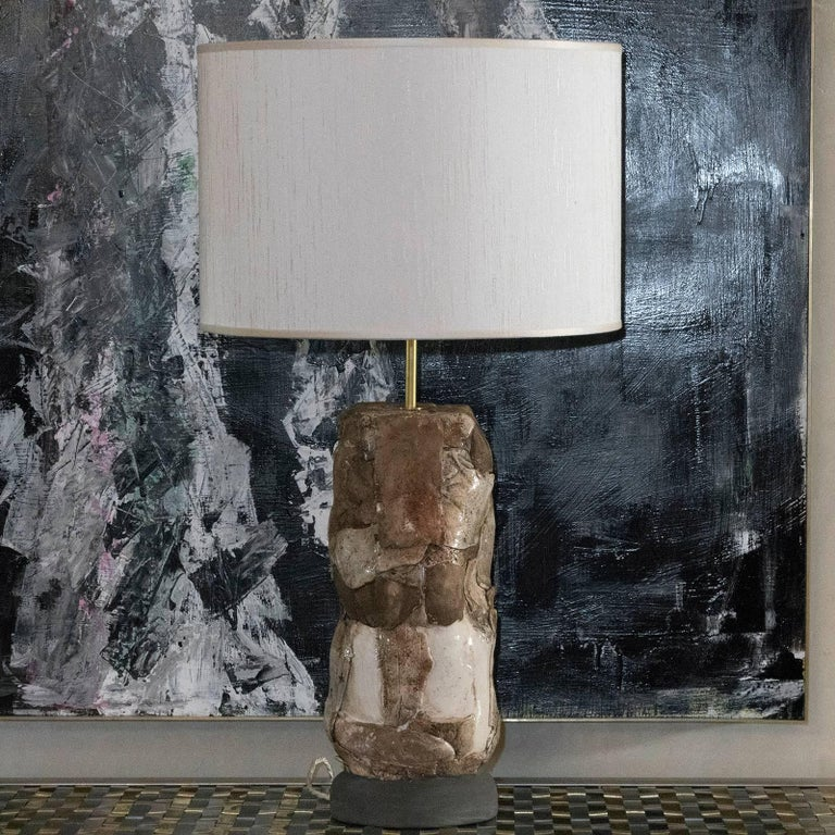 Italian Flair Edition Glazed Ceramic Lamp For Sale