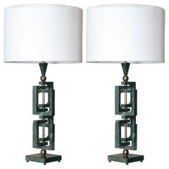 "Flair Edition Green Guatemala Marble and Bronze Italian ""Adhoc"" Table Lamp"""