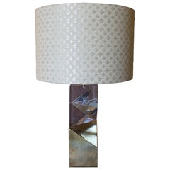 "Flair Edition ""Romboid Brass"" Table Lamp Clear Plexiglass and Brass, Italy, 2021"