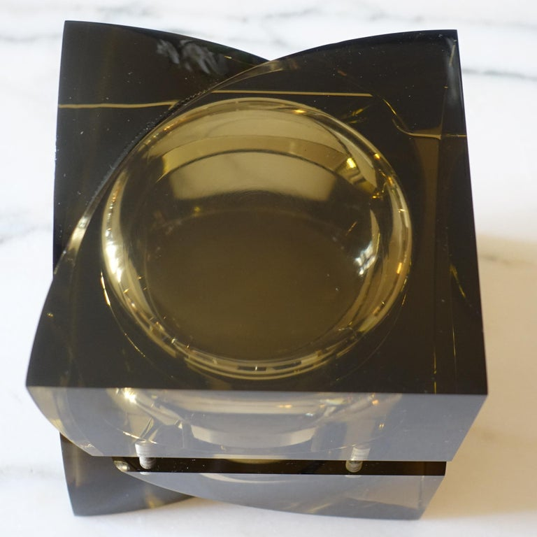 Italian Flair Edition Small Decorative Box in Amber Lucite, Italy, 2021 For Sale