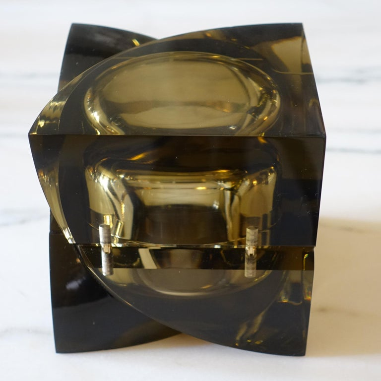 Plexiglass Flair Edition Small Decorative Box in Amber Lucite, Italy, 2021 For Sale