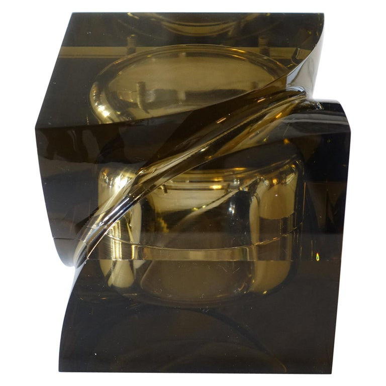 Flair Edition Small Decorative Box in Amber Lucite, Italy, 2021 For Sale