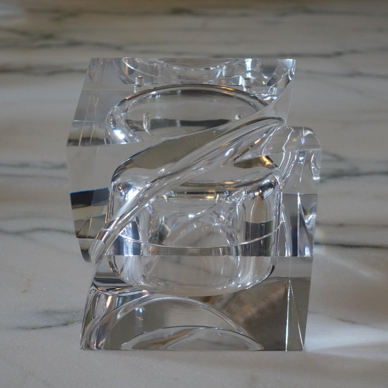 Italian Flair Edition Small Decorative Box in Clear Lucite, Italy, 2021 For Sale