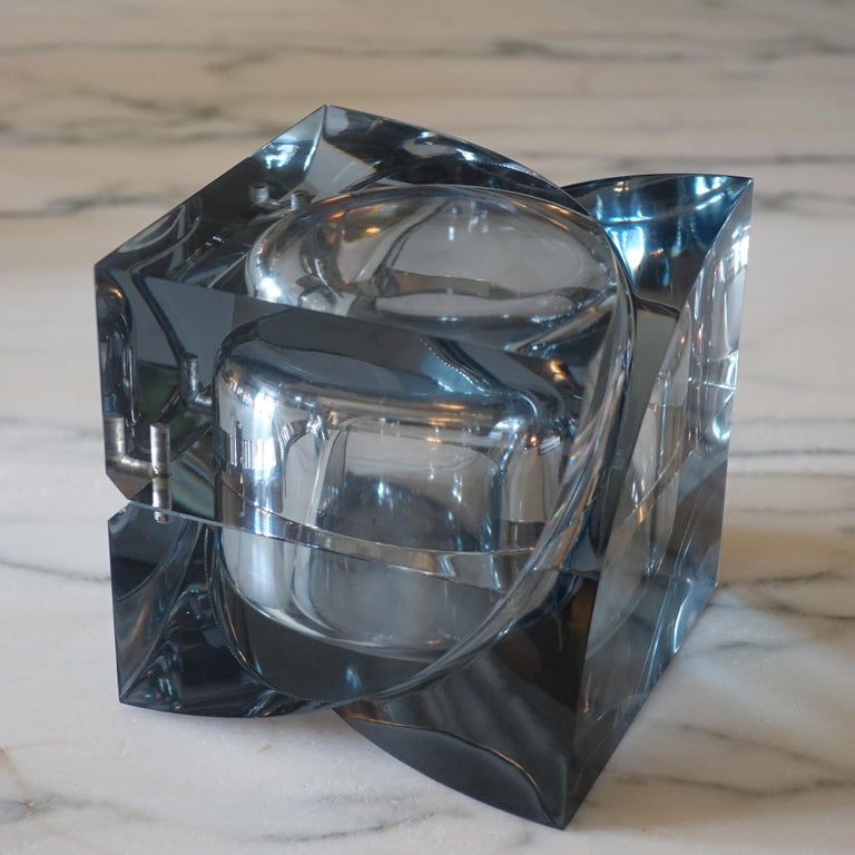 Contemporary Flair Edition Small Decorative Box in Smoke Grey Lucite, Italy, 2021 For Sale