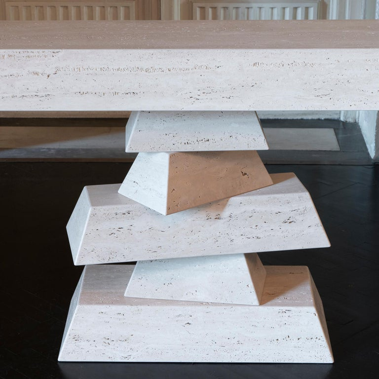 Flair Edition Travertine Six Elements Console, Italy, 2019 For Sale 2