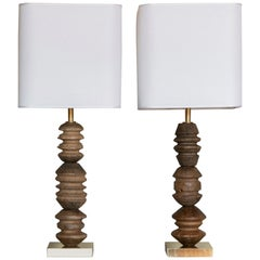 Flair Edition Vintage African Wood and Natural Brass Table Lamp, Italy, 2020