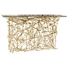 """Flair Edition """"Wires"""" Natural Brass Console, Clear Plexiglass Top, Italy, 2019"""