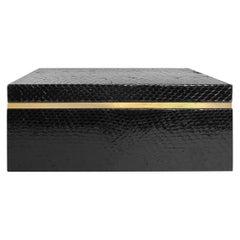 Flair Home Collection Large Black Python Box