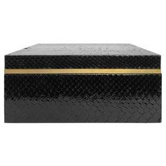 Flair Home Collection Square Black Python Box