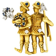Flaircraft Sapphire Diamond Platinum 18 Karat Gold Gemini Zodiac Pendant Brooch