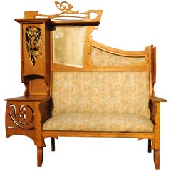Flamboyant Art Nouveau Sofa, Ecole de Nancy, France, 1910