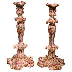 Flamboyant Pair of 19th Century Paris Porcelain Candlesticks