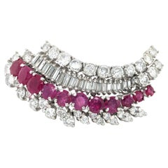 Flamboyant Ruby and Diamond Brooch in White Gold 18k