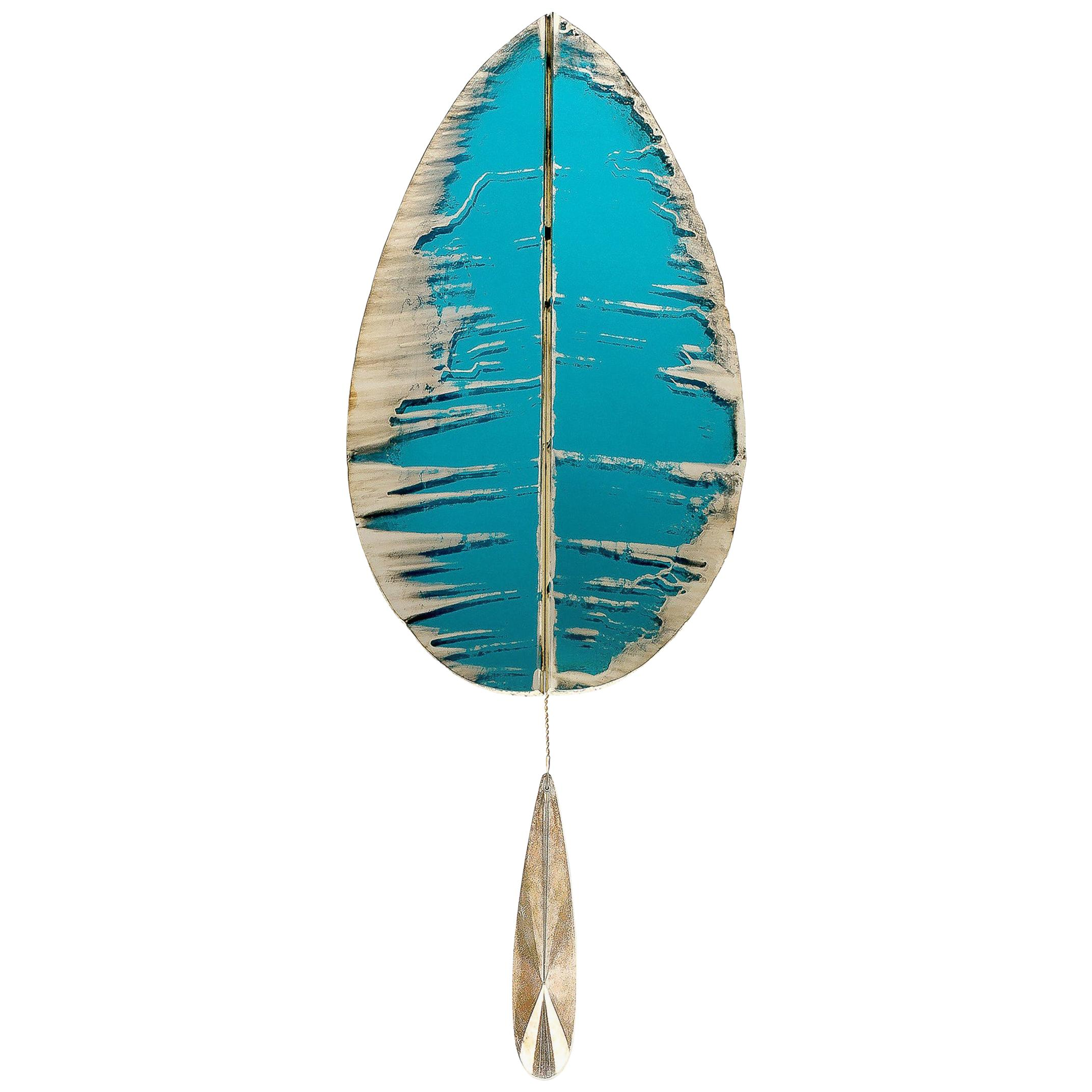 """""""Flame"""" Contemporary Wall Lamp Aqua Silvered Glass, Brass, Crystal Drop"""