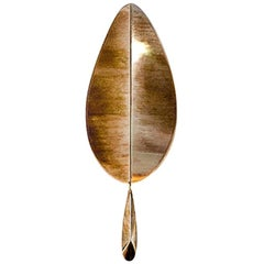 """Flame"" Contemporary Wall Lamp, Silvered Glass, Brass, Crystal Drop Sale"