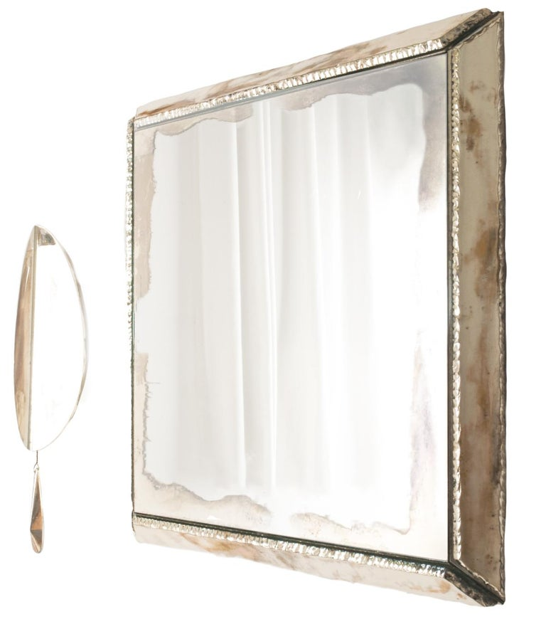 """Italian """"Flame"""" Contemporary Wall Sconce, Rose Silvered Glass, Brass, crystal drop For Sale"""