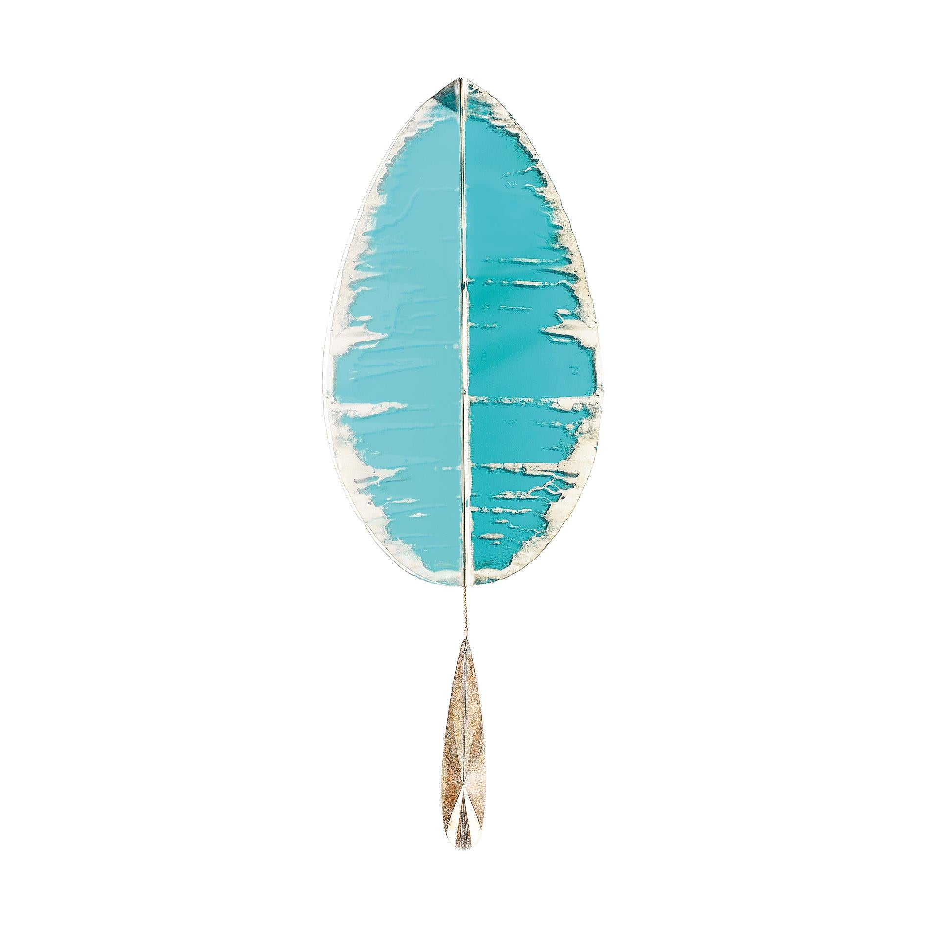 """""""Flame"""" Contemporary Wall Sconce Aquamarine Silvered Glass, Brass, crystal drop"""