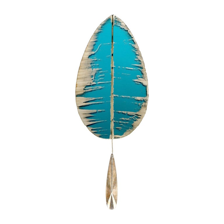 """""""Flame"""" Contemporary Wall Sconce Aquamarine Silvered Glass, Brass, crystal drop For Sale"""