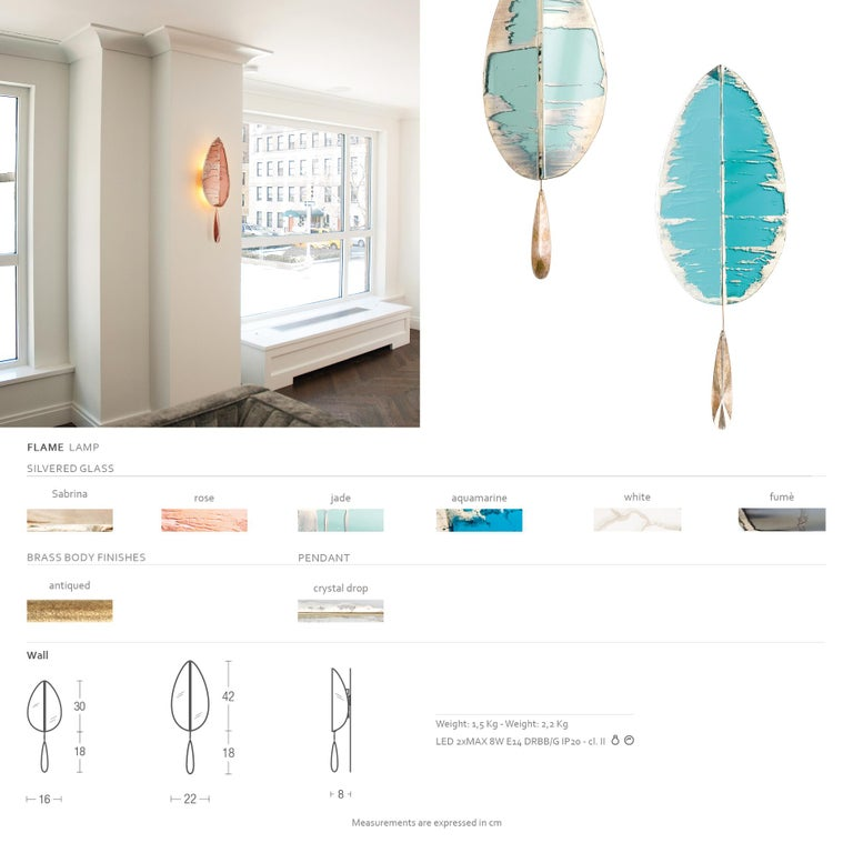 """""""Flame"""" Contemporary Wall Sconce Aquamarine Silvered Glass, Brass, crystal drop For Sale 1"""