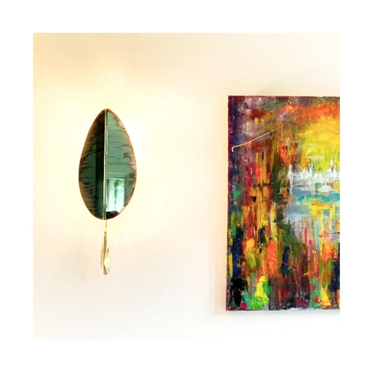 """Flame"" Contemporary Wall Sconce Jade Silvered Glass, Brass, crystal drop For Sale 2"