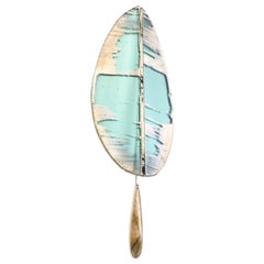 """""""Flame"""" Contemporary Wall Sconce Jade Silvered Glass, Antiqued Brass"""