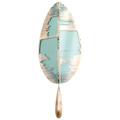 """Flame"" Contemporary Wall Sconce Jade Silvered Glass, Brass, crystal drop"