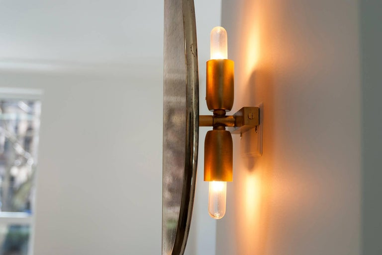 """""""Flame"""" Wall Lamp in Brass, acqua Water, hand-silvered glass Handmade in Tuscany 9"""