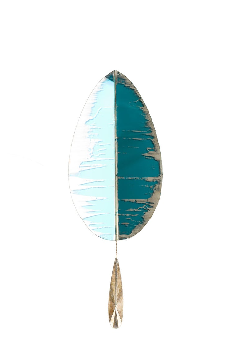 """""""Flame"""" Wall Lamp in Brass, acqua Water, hand-silvered glass Handmade in Tuscany 11"""