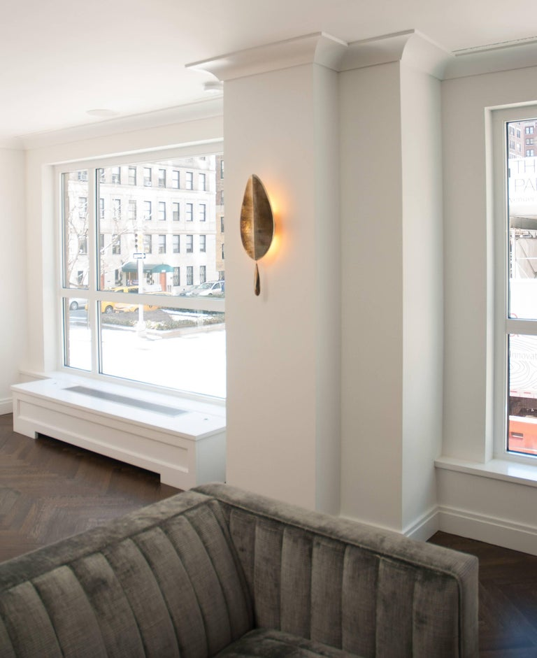 """""""Flame"""" Wall Lamp in Brass, acqua Water, hand-silvered glass Handmade in Tuscany 7"""