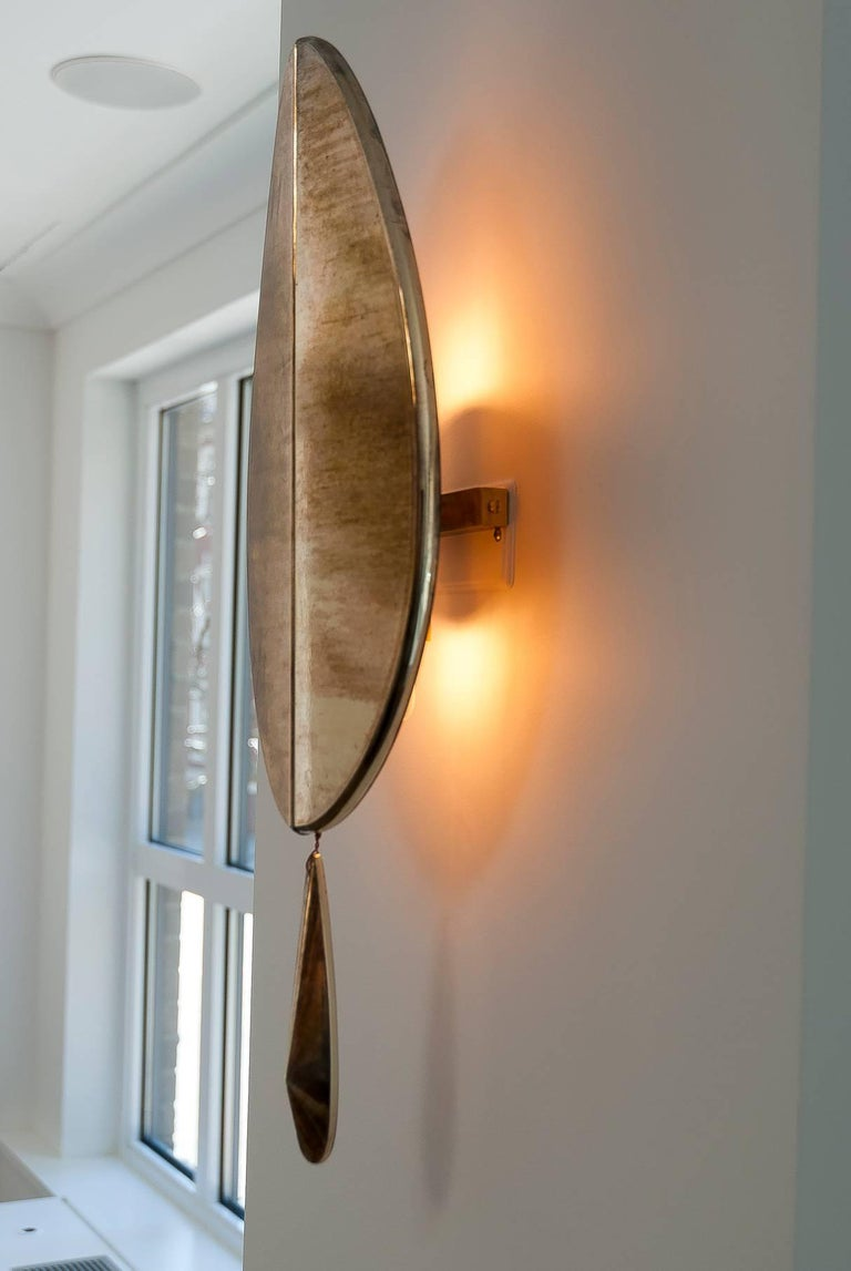 """""""Flame"""" Wall Lamp in Brass, acqua Water, hand-silvered glass Handmade in Tuscany 8"""