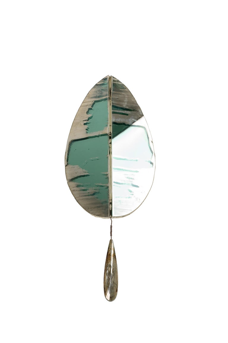 "Italian ""Flame"" Contemporary Wall Sconce Jade Silvered Glass, Brass, crystal drop For Sale"