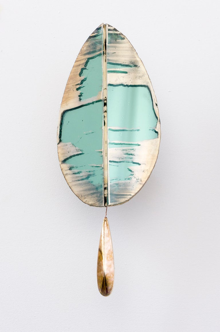 """Flame"" Contemporary Wall Sconce Jade Silvered Glass, Brass, crystal drop In New Condition For Sale In Pietrasanta, IT"