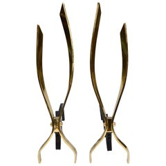 Flame Form Modernist Brass Andirons