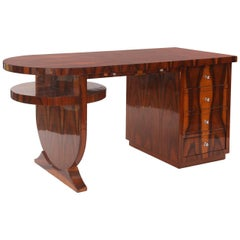 Flame Grained Rosewood Art Deco Desk