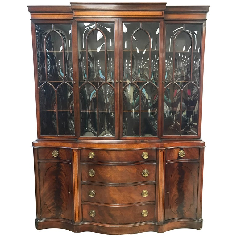 Flame Mahogany Breakfront China Cabinet Bookcase Secretary Desk For