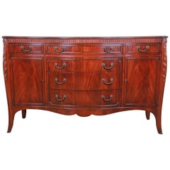 Flame Mahogany French Carved Bow Front Sideboard Credenza by Drexel