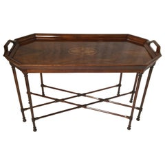 Flame Mahogany Inlaid Cocktail Table by Councill