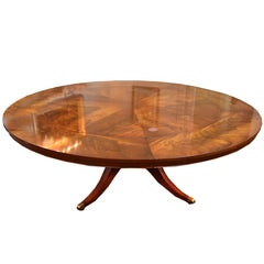 Flame Mahogany Round Pedestal Base Dining Table