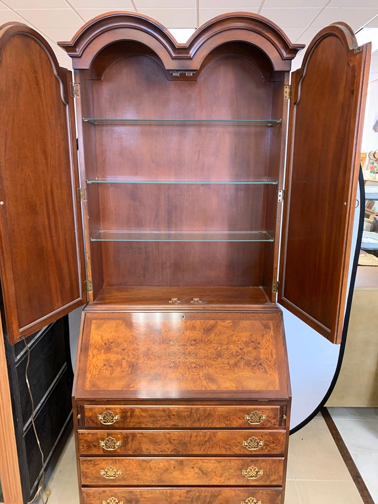 Flame Mahogany Secretary Secrétaire Two-Piece with Mirrored Top For Sale 5