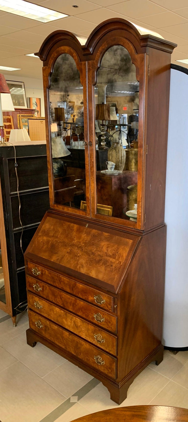 Flame Mahogany Secretary Secrétaire Two-Piece with Mirrored Top For Sale 8
