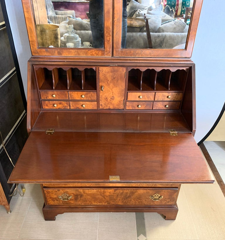 20th Century Flame Mahogany Secretary Secrétaire Two-Piece with Mirrored Top For Sale
