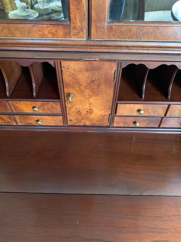 Flame Mahogany Secretary Secrétaire Two-Piece with Mirrored Top For Sale 1